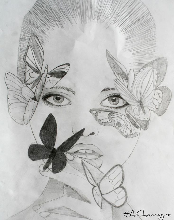 Passion of Drawing visage femme papillons achamagne