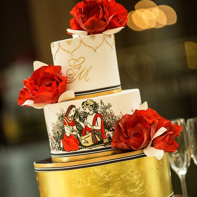 This Dewey Seasons Hotel Sydney Chocolate Mud And Red Velvet Layer Cake Is Hand Painted With Radha Krishna Names Of The Divine Couple Who Symbolize