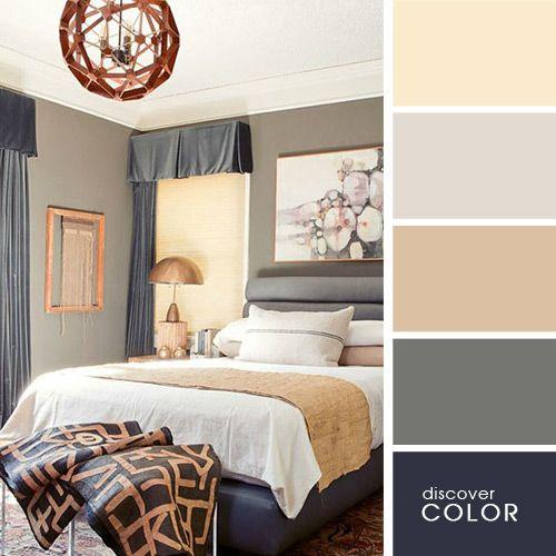 Спальня в серых и бежевых оттенках