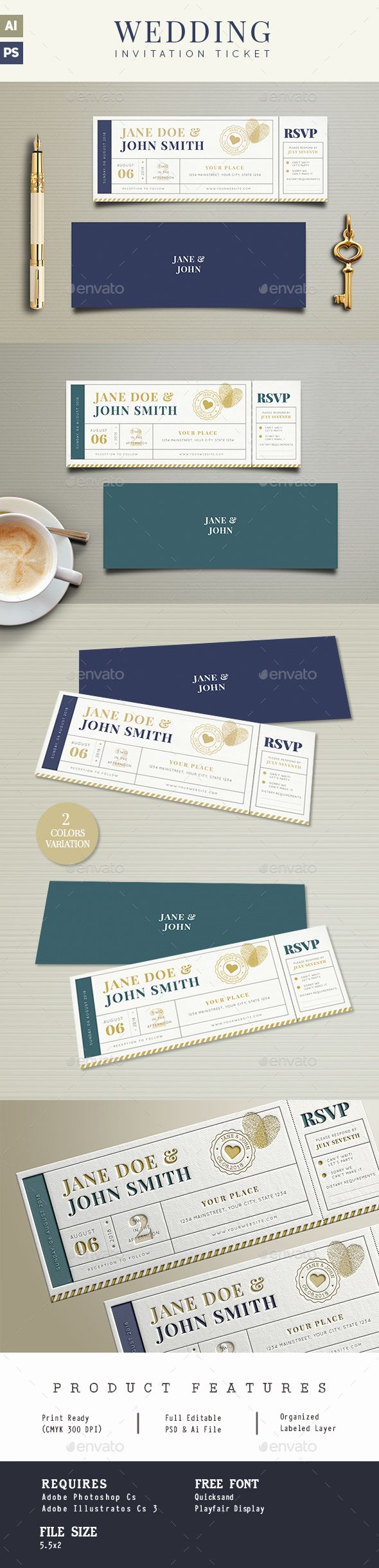standard size wedding invitation%0A Wedding Invitation Ticket