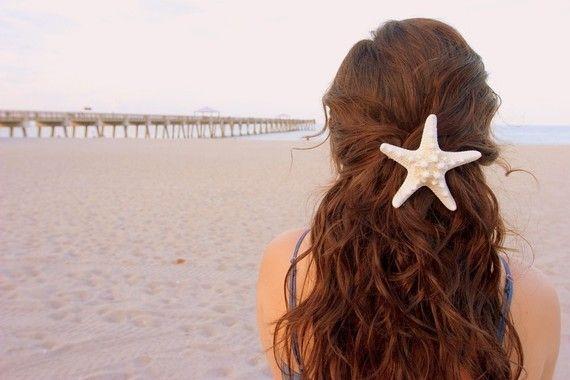 Cute: Beaches Hair, Hair Barrettes, Hair Ideas, Mermaids Hair, Wedding Hair, Hair Pieces, Hair Accessories, Starfish Hair Clip, Beaches Wedding