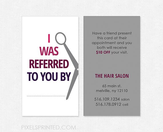 hairstylist referral cards, hair salon referral cards, simple hairstylist…