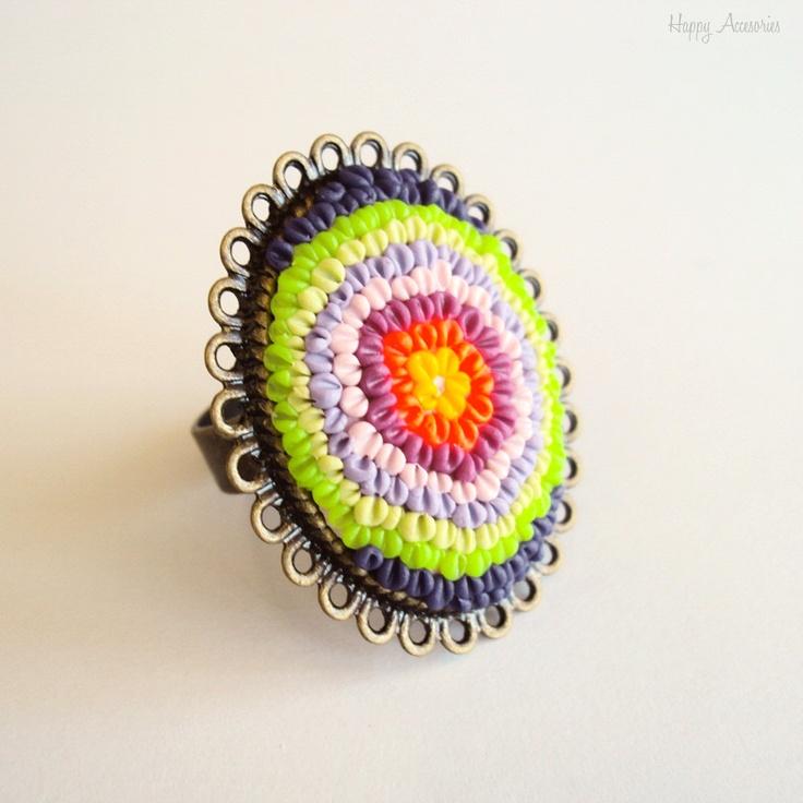 """Inel """"Cercuri colorate"""" de HappyAccesories Breslo"""