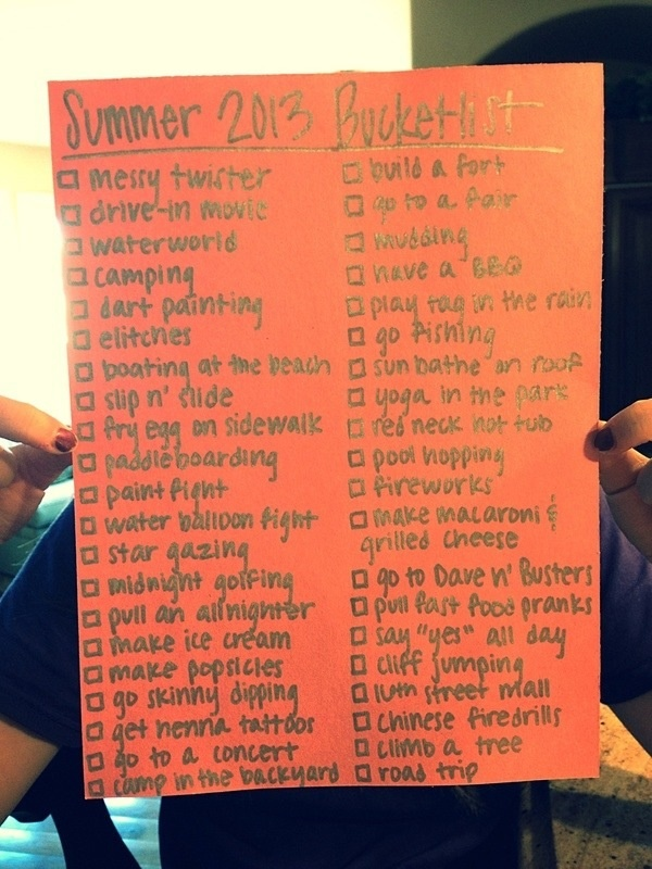 Summer 2013 bucket list! YES! I will do this... Just not the skinny dipping or tattoo.. And a couple others.. Haha