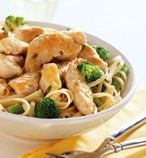 Chicken Linguine (7 Points+ Per Serving) 6 oz dry linguine pasta 2 cups broccoli florets 2 tsp cornstarch 1/2 cup reduced-sodium chicken broth 1/4 tsp lemon-pepper 3 skinless, boneless chicken breast halves, (12 oz total), cut into bite-size strips 2 tsp olive or cooking oil 1/2 tsp dried tarragon or dill, crushed