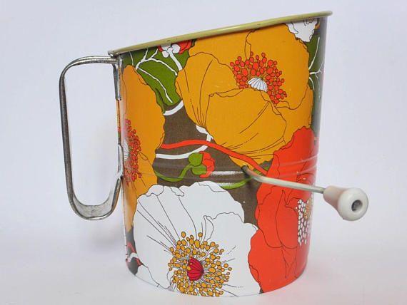 Vintage Flower Power Flour Sifter 1960s Rustic Decor