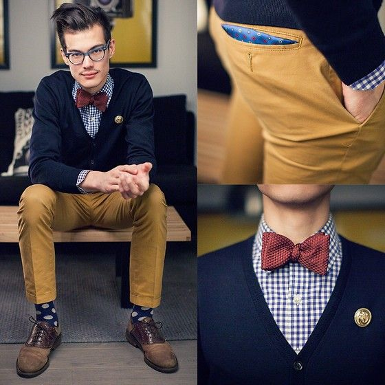 ///very crisp colors with great texture and pattern brought through the tie and socks Waffle Texture Bow Tie, Cantucci Blue P Square