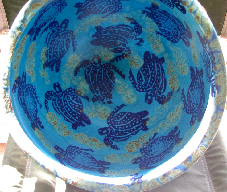 Large Turquoise water bowl. Michael Pugh Pottery. Buderim Australia.