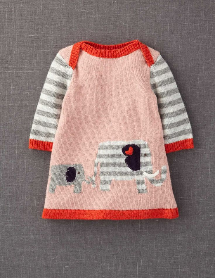 #boden #magicalmenagerie Mini Boden My Baby Knitted Dress The elephants went in two by two....
