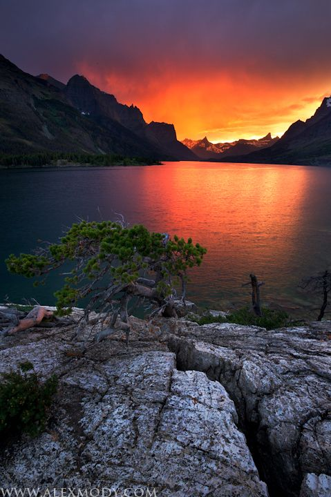 Stormy, St., Mary, Lake, Sunset, Monsoon, Thunderstorm, Clear, Sunset, Glacier, National, Park, USA photo