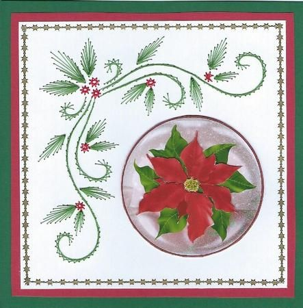 Card Gallery - Christmas Poinsettia Snow Globe Card Front and Topper