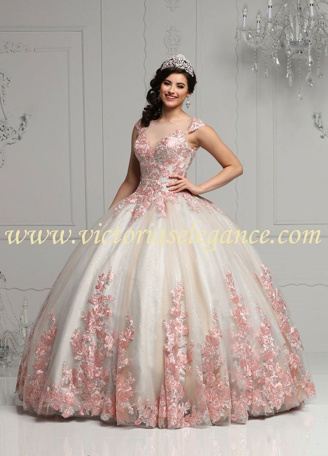 f3c9930546 Beautiful glitter tulle ball gown with embroidered applique on bodice    throughout the skirt