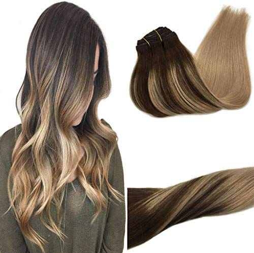 New Googoo 120g 24 inch Hair Extensions Clip Chocolate Brown Fading Ash Blonde Real Remy Human Hair Extensions Clip Double Weft Hair Extensions Natural Hair 7 Pieces Silky Straight online