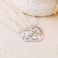2015 BFF dividir coração melhores amigos para sempre 3 peças de quebra-cabeça colar de strass combinação namoradas pingentes colares(China (Mainland))R$ 5,98.