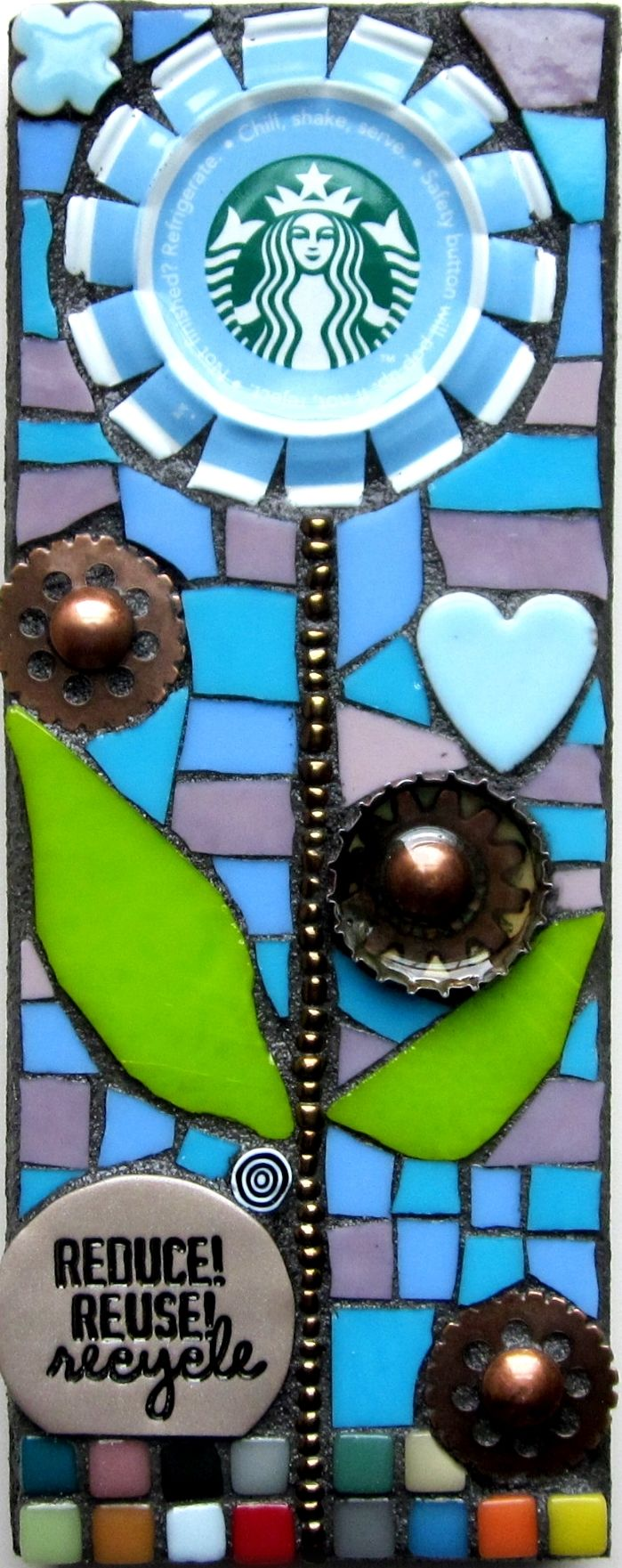 STARBUCKS COFFEE GEAR FLOWER MOSAIC. UPCYCLED ART. RECYCLED ART.