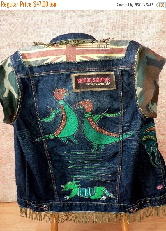 Clearance Sale Art  hand painted, upcycled, recycled denim fantasy animal vest