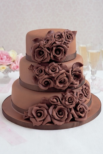 chocolate wedding cake change the flowers to eggplant teal and ivory