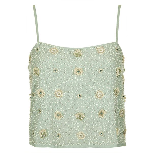 TOPSHOP Floral Bead Crop Cami (395 ARS) ❤ liked on Polyvore featuring tops, shirts, tanks, crop tops, tank tops, mint, mint green tank top, green shirt, green crop top and mint shirts