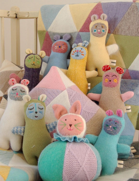 Soft toys made from recycled jumpers made by Odds and Ends