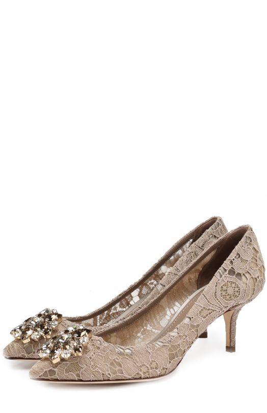 Кружевные туфли Rainbow Lace с брошью Dolce & GabbanaТуфли