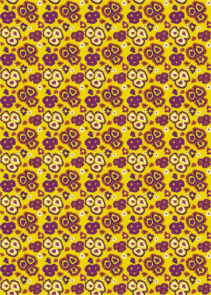 Estampa floral fundo amarelo, técnica caneta digitalizadora. Designer Letícia Costa Gomes
