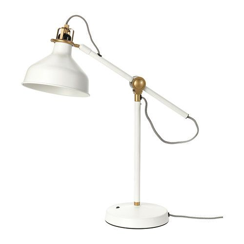 Industrial chic lighiting from IKEA. RANARP Work lamp, white and gold.