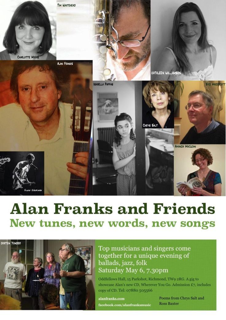 Alan Franks & Friends playing in Richmond, 7.30pm Sat May 6, Oddfellows, Parkshot | Alan Franks