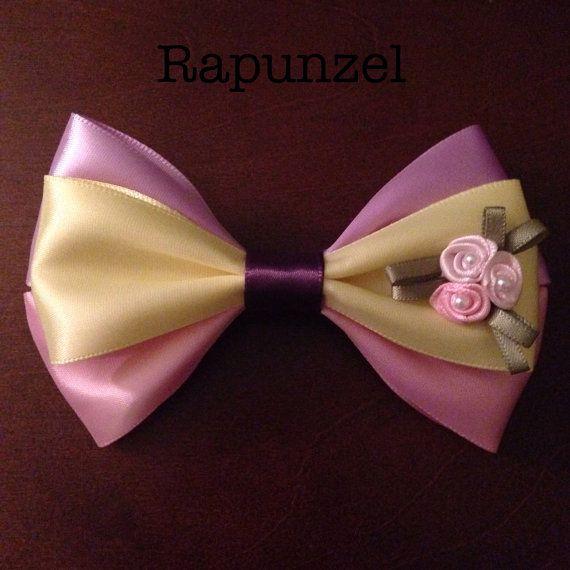 Rapunzel Disney ribbon hair bow barrette by EclecticGeekette, $7.50