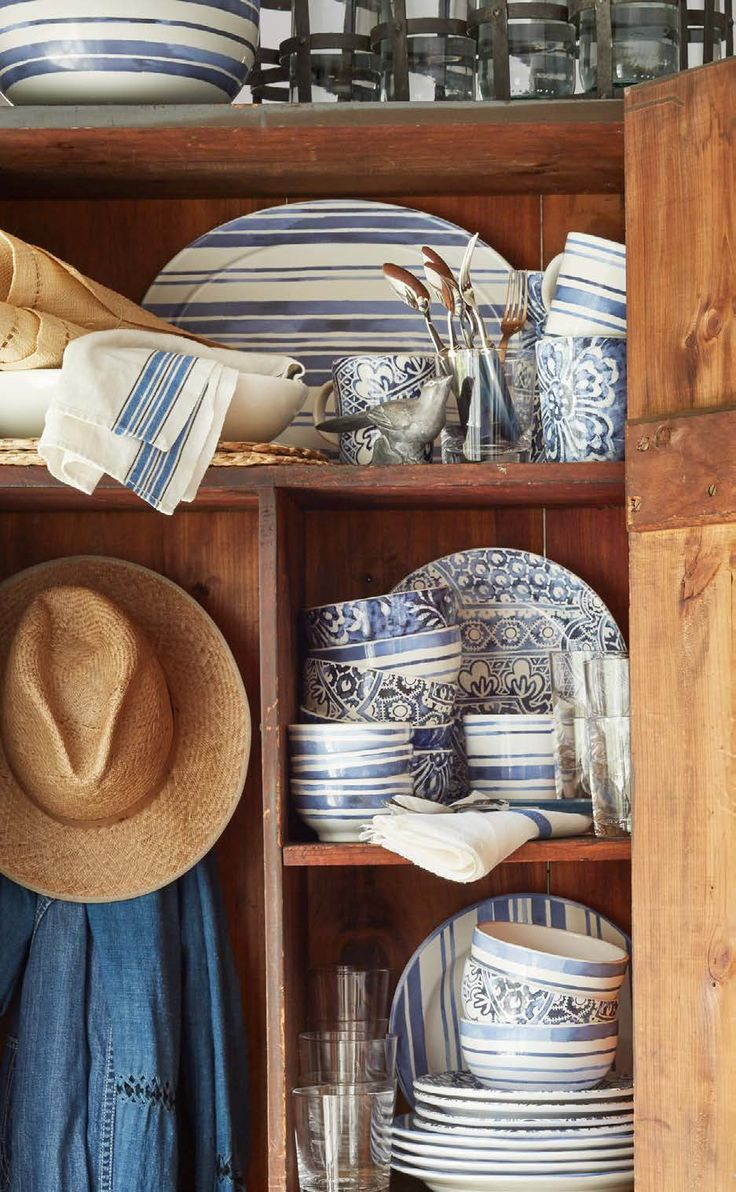 We have so many morning dishes, and my newest favorites are Ralph Lauren's blue & white. What a surprise...........
