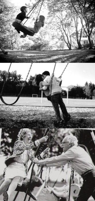 Swing Love: Idea, Stay Young, Young At Heart, Swings, Anniversaries Photo, Growing Up, True Love, Growing Old Together, So Sweet