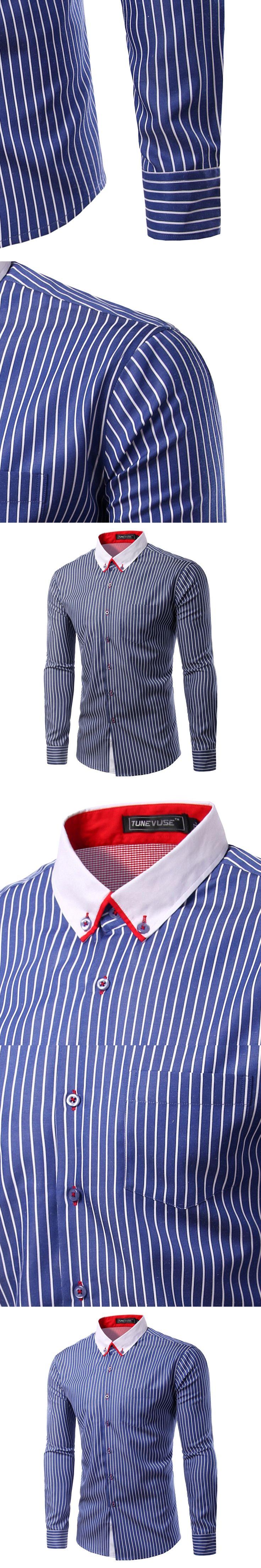 Fashion 2017 Men Shirts Male Striped Formal Dress Shirt Long Sleeve Mens Brand Casual Camisa Masculina Plus Asian Size 3XL TU220