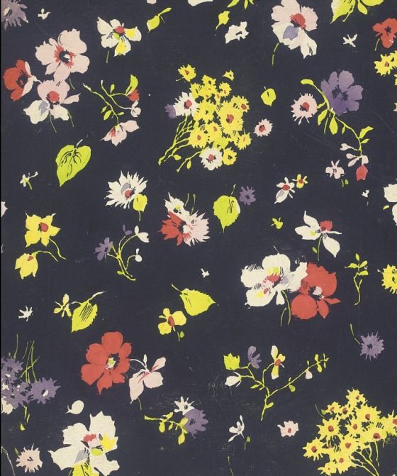 Untitled Textile Design of Flowers | LACMA Collections : Elza Sunderland Textile Design Collections 1940's.