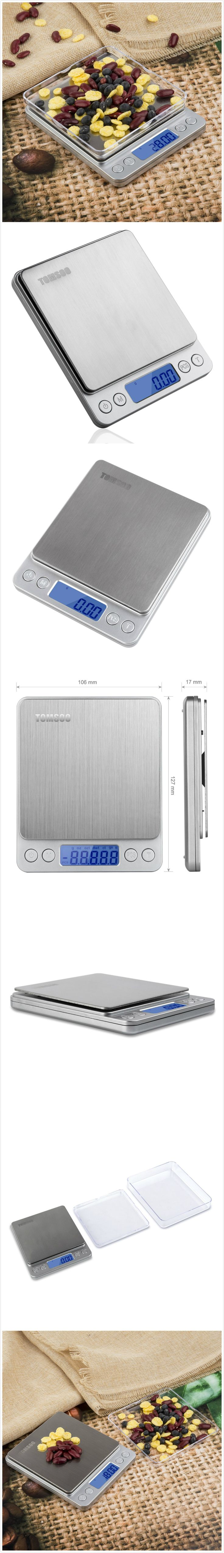 TOMSOO 0.01oz/0.1g 3kg Electronic Balance Digital LCD Display Pro Pocket Scale, Accuracy Kitchen Scale, Mini Food Scale, Auto Off and Back-lit, Tare & PCS Functions, Stainless Steel (Silver)
