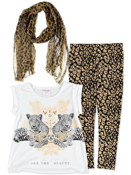 HAVE GIRLS SCARF TOP LEGGINGS SET 3 PCE