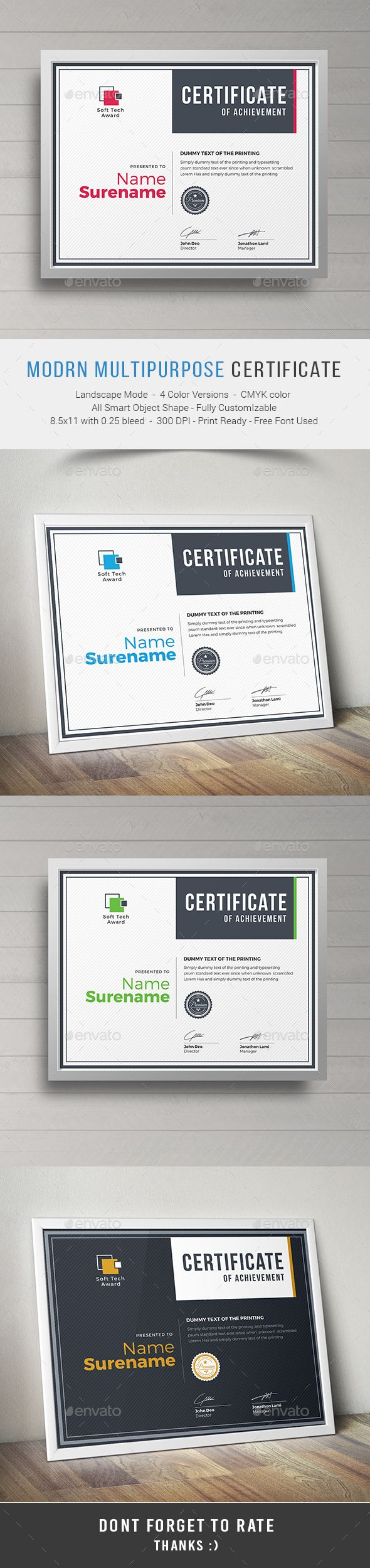 Modern Multipurpose Certificates - Certificate Template PSD. Download here: http://graphicriver.net/item/modern-multipurpose-certificates/15881469?s_rank=6&ref=yinkira