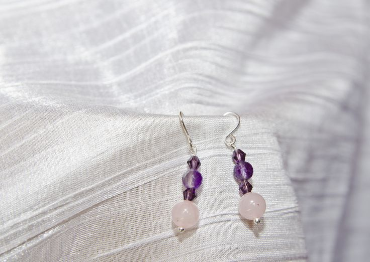 Amethyst and Quartz earings