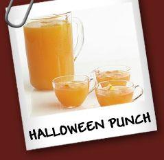 Ponche de Halloween  Ingredientes  • 6 tazas de jugo de naranja fresco • 3/4 taza de jugo de limón fresco • 2/3 de almíbar • 3 tazas de soda de naranja • 1/2 litro de vodka • Rodajas de naranja