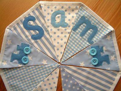 Baby boy PERSONALISED bunting blue prints trains nursery shower banner flags | eBay