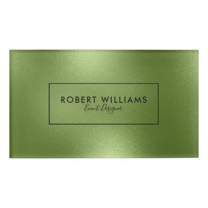Elegant Modern Shiny Green Abstract Background Name Tag - trendy gifts cool gift ideas customize