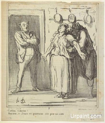 Zounds, Catherine : Honore Daumier : Realism : caricature - Oil Painting Reproductions