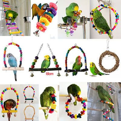 Colorful Swing Bird Toy Parrot Rope Harness Cage Toys Parakeet Cockatiel Budgie