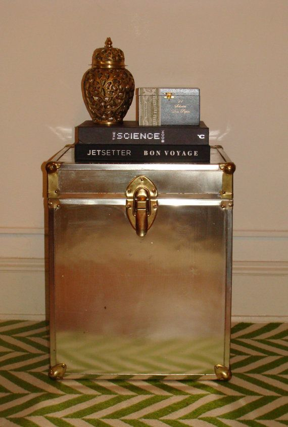 Vintage Gold Brass Trunk Footlocker Eclectic Hollywood