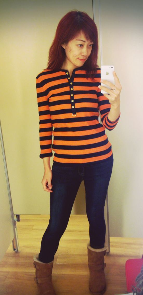 Orange and blue stripe top; Ralph Lauren Polo; blue jeans; Ugg boots; ready for spring;