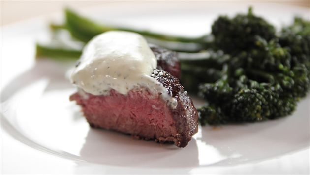 Get Ree Drummond's Petite Filet with Wasabi Cream Recipe from Food Network