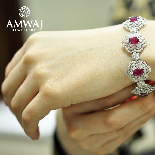Imagine this Ruby and Diamond bracelet from Amwaj Jewellery on your wrist. تخيلي…