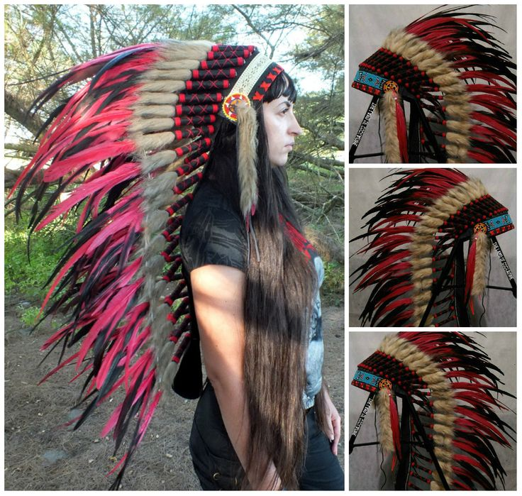 TOTAL SALE! Medium Length Red Warbonnet, Native American inspired Headdress, Burning man Clothing, Edc, Edm Outfits, Indian style headdress by TheLandOfCockaigne on Etsy