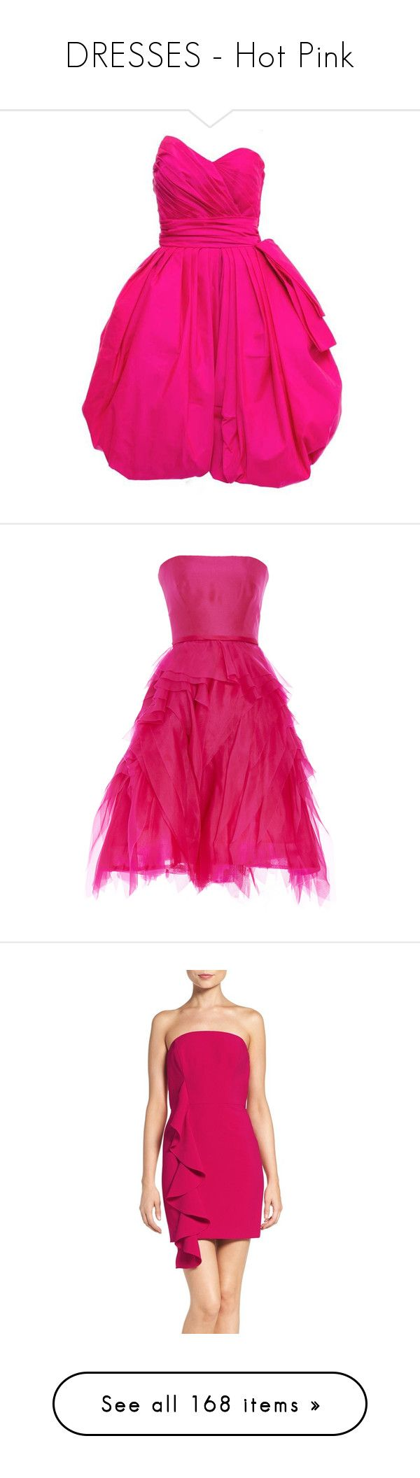 """""""DRESSES - Hot Pink"""" by lynesse ❤ liked on Polyvore featuring dresses, cocktail dresses, pink, victor costa dress, pink strapless dress, neon pink dress, 80s dress, strapless cocktail dresses, strapless dress and tiered strapless dress"""