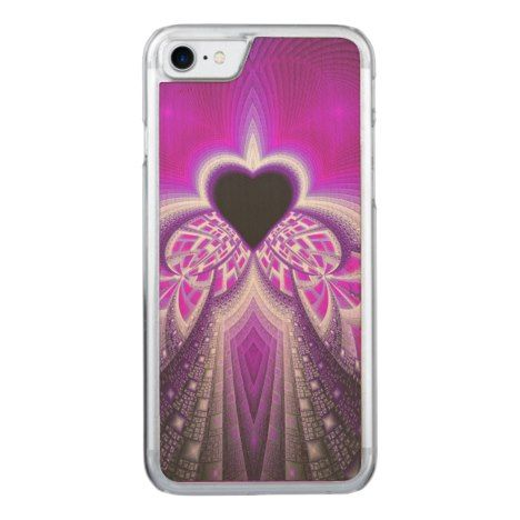 Abstract Pink And Purple Fractal Pattern Carved iPhone 8/7 Case #fractal #pattern #iphone #protective #cases