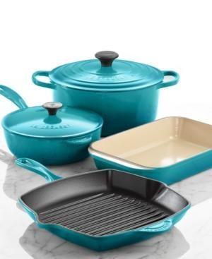 Le Creuset Signature Enameled Cast Iron 6 Piece Cookware Set blue