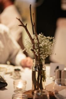 Simple table decorations.  Tailrace Centre.  Chelsea and Dan's beautiful wedding.